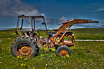 Tractor on green field